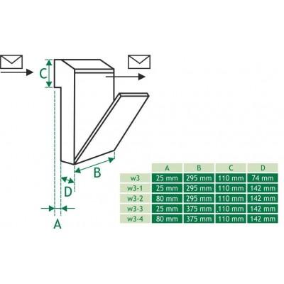 Skrzynka przelotowa na listy C4 - rysunek techniczny