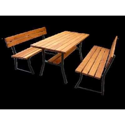 Stół ogrodowy z 2 ławkami 9...