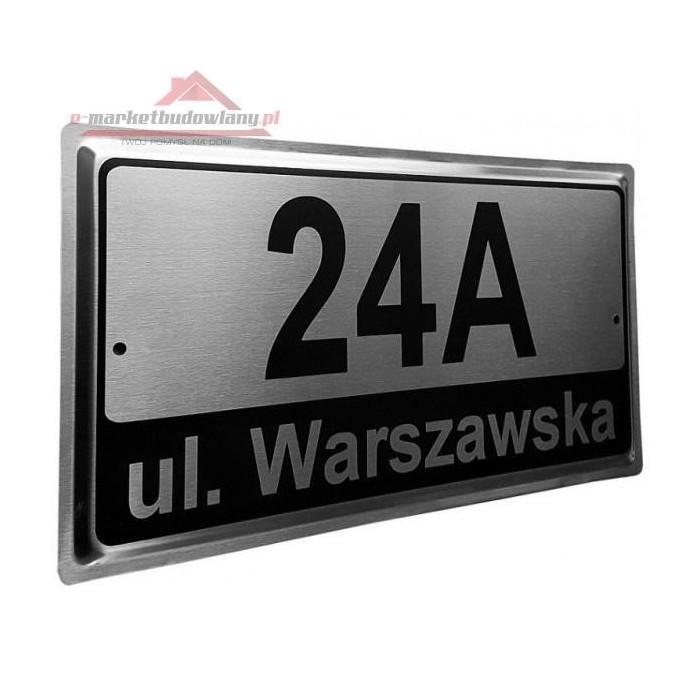 Nowość Tabliczka na dom z numerem i nazwą miejscowośći INOX wzór 2 MB UG88
