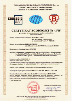 ławki z certyfikatem, ławki z deklaracją zgodności